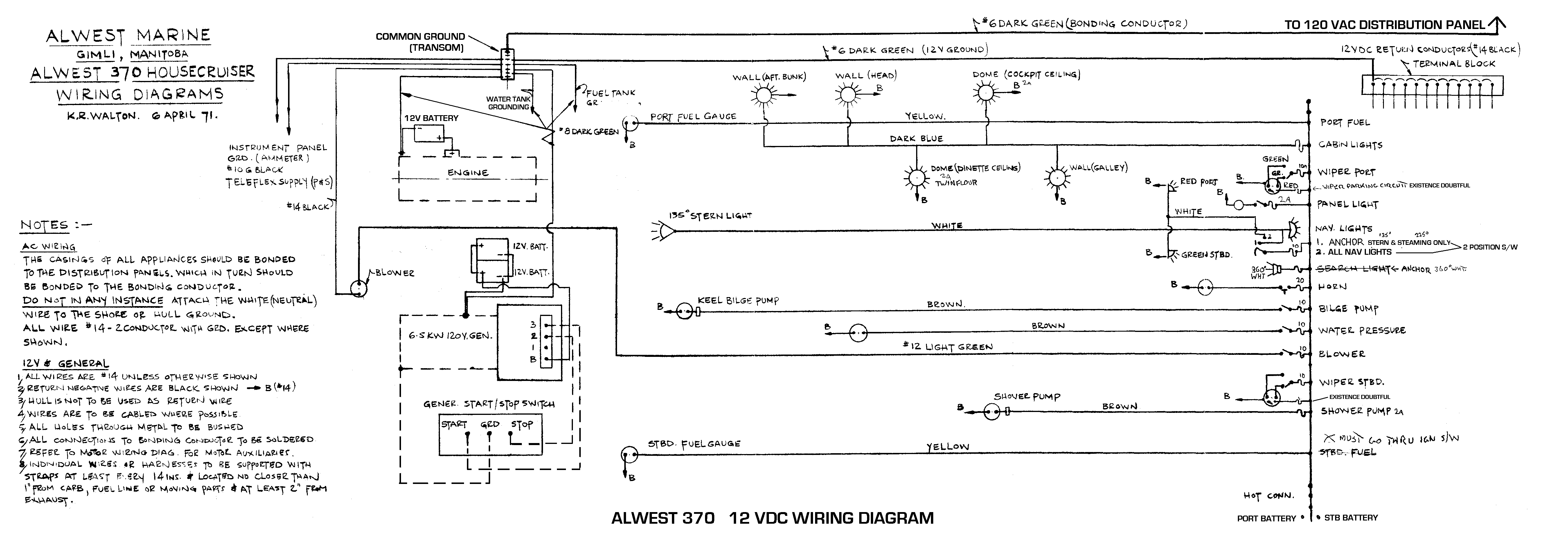 Electrical 12 Vdc System Wiring Diagrams The Dc On Alwest Is Generally Of Poor Quality But This Common To Boats From Era Appears Be Automotive Grade With Untinned